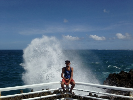 Reef with a narrow opening. The waves comes from a narrow opening, and the waves hit the reef, pressure rises and BLOW UP! More exciting ifduring high tide to enjoy the panoramic high seas. Location : Water Blow, Nusa dua, Bali